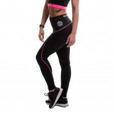 Ladies Long Gym Leggings - Black/Pink Gold's Gym