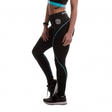 Ladies Long Gym Leggings - Black/Turquoise Gold's Gym